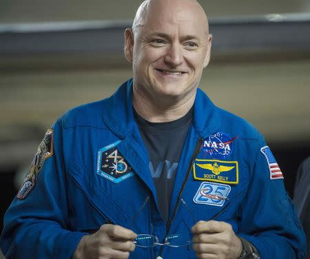 Expedition 46 Commander Scott Kelly of NASA is seen after returning to Ellington Field in Houston, Texas, March 3, 2016. REUTERS/NASA/Joel Kowsky/Handout via Reuters