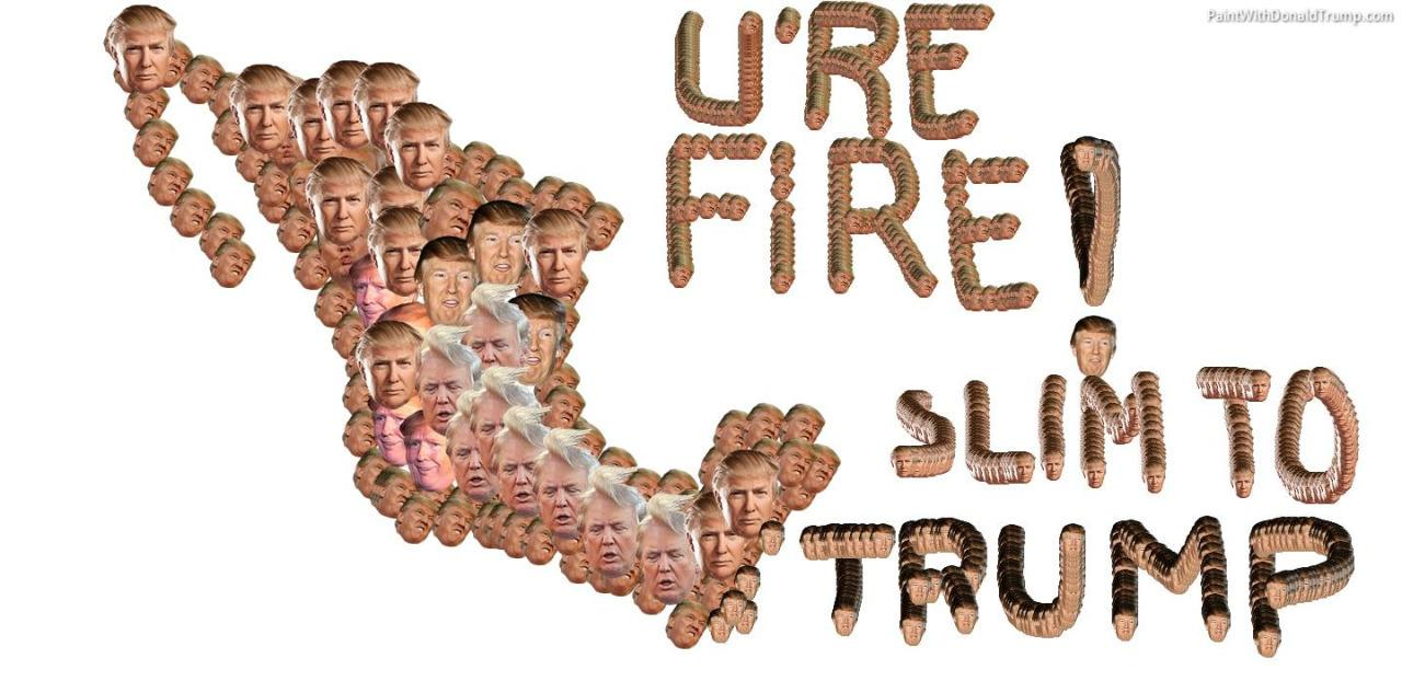 """<p>Donald Trump's catch phrase from his television show <i>The Apprentice</i> makes an appearance with an impressive drawing of Mexico. (Photo: <a href=""""http://bestofpaintwithdonald.tumblr.com/"""" rel=""""nofollow noopener"""" target=""""_blank"""" data-ylk=""""slk:bestofpaintwithdonald.tumblr.com/"""" class=""""link rapid-noclick-resp"""">bestofpaintwithdonald.tumblr.com/</a>)</p><p><br></p><p><br></p>"""