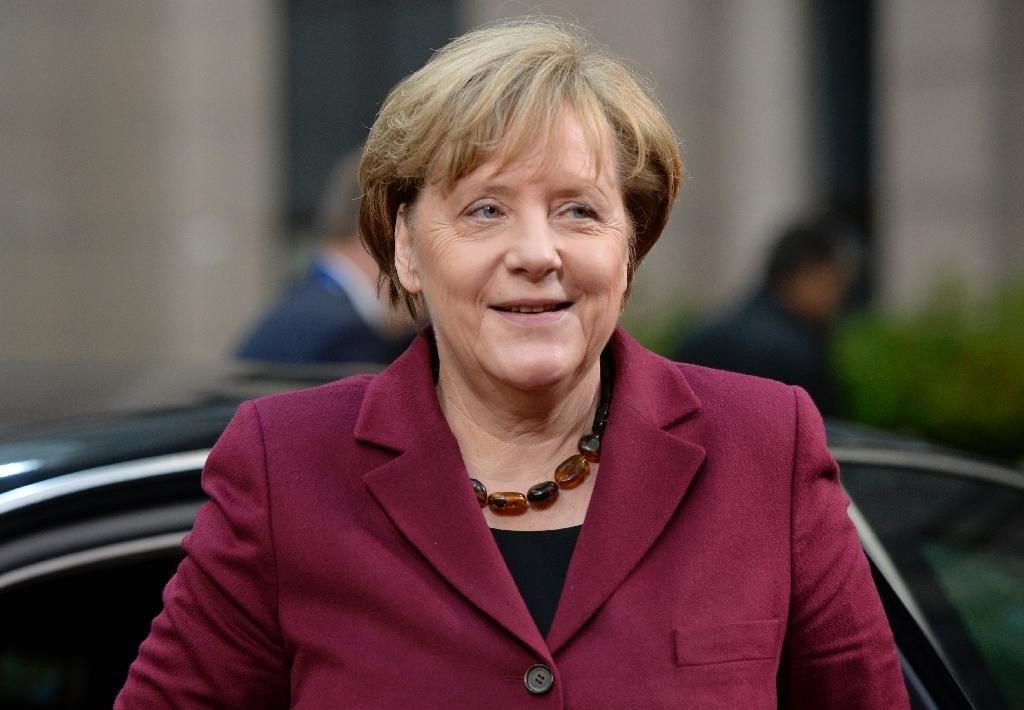 """Germany's Chancellor Angela Merkel was praised for her """"steadfast moral leadership"""" (AFP Photo/Thierry Charlier)"""