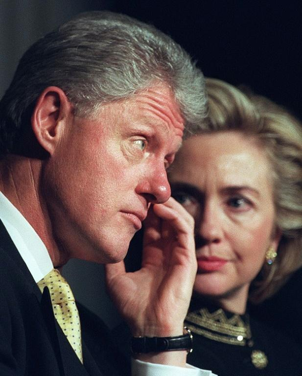 Former US president Bill Clinton and first lady Hillary Clinton in January 1999, when he was on trial in the Senate for lying to investigators in the Lewinsky sex scandal (AFP Photo/JOYCE NALTCHAYAN)