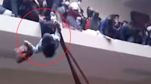 Devastating moment students plunge to deaths as balcony falls
