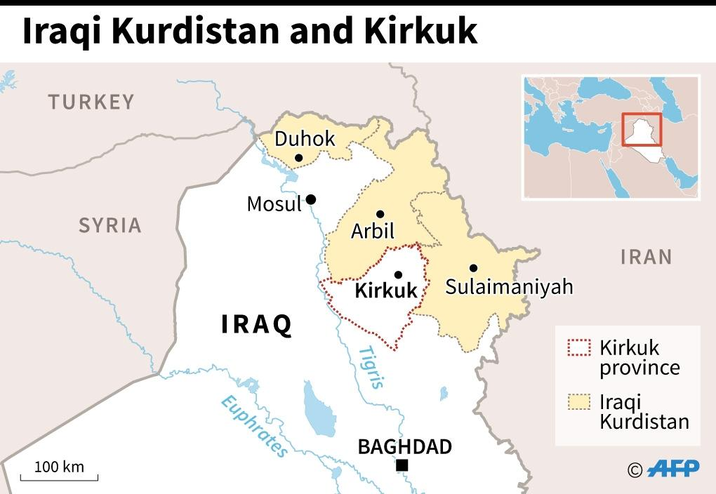 Map of northern Iraq showing the 3 provinces that make up Iraqi Kurdistan and the neighbouring province of Kirkuk (AFP Photo/Gillian HANDYSIDE)