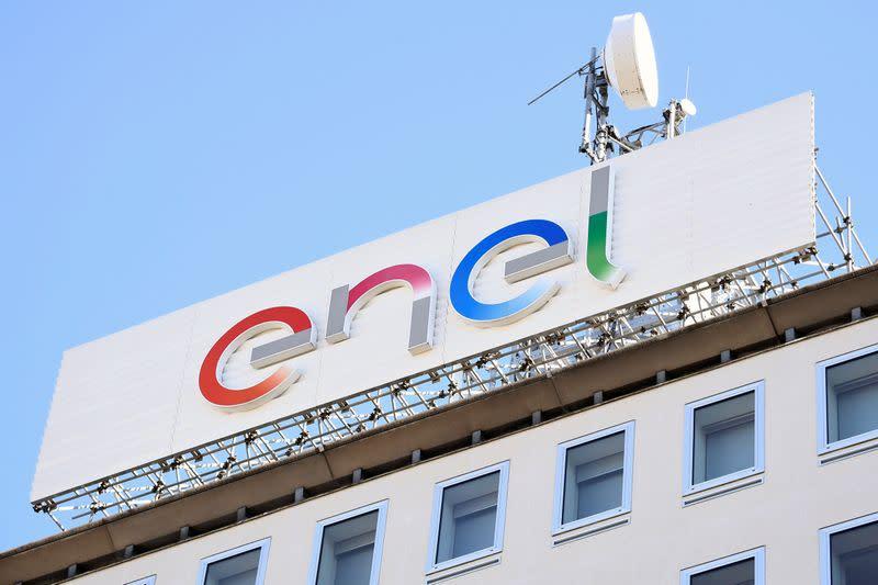 A logo of Italian multinational energy company Enel is seen in Milan