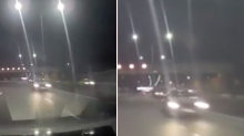 Man's shock as driver on wrong side of freeway flies past