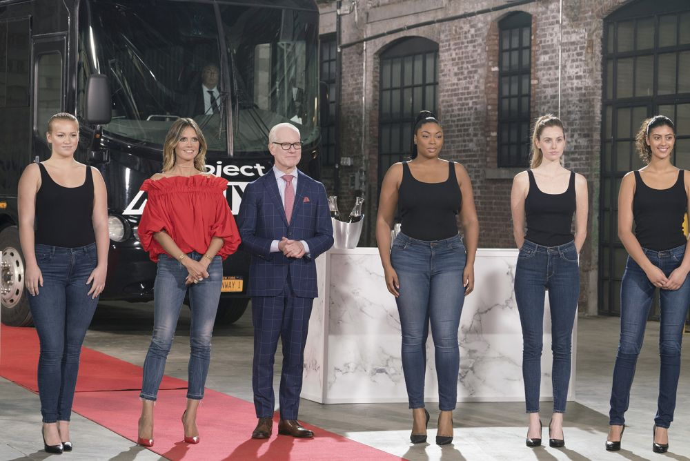 Heidi Klum and Tim Gunn along with models of all shapes and sizes on the Season 16 premiere of <em>Project Runway</em> on Aug. 17.