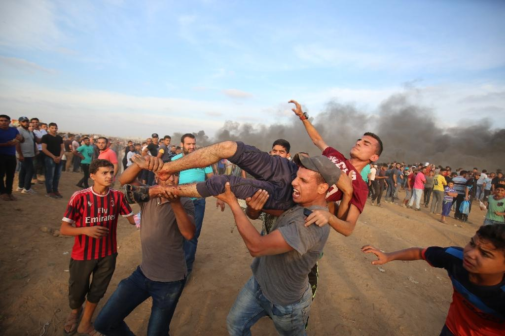 Hundreds of Palestinian protestors have been wounded in the Gaza rallies, and Israeli forces have been accused of using excessive force (AFP Photo/Said KHATIB)