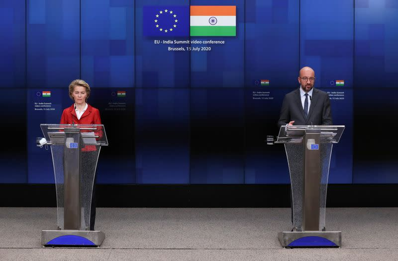European Council President Charles Michel and European Commission President Ursula von der Leyen speak during a news conference after a virtual summit with Indian Prime Minister Narendra Modi, in Brussels