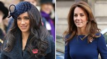 Meghan Markle and Duchess Kate step out in navy for two separate events