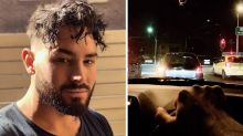 MAFS star Sam Ball films on his phone while driving