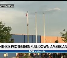 Protesters replace American flag with Mexican flag, vandalize 'Blue Lives Matter' flag at ICE facility