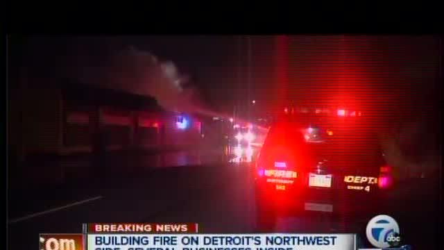 Detroit commercial building goes up in flames