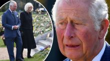 Charles and Camilla's emotional visit to Prince Philip's memorial