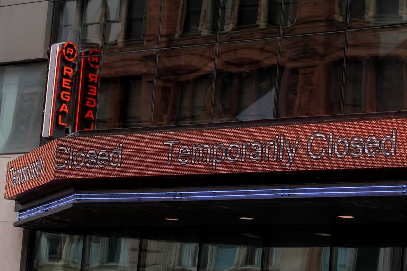 'Temporarily Closed' is displayed on the marquee of a Regal theatre during the outbreak of the coronavirus disease (COVID-19), in New York