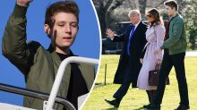 Barron Trump, 13, towers over 6ft 3in father Donald Trump