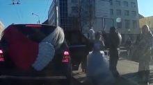 Bride and mother attack groom at Belarus roadside