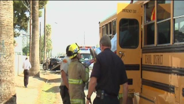 Students hurt in school bus crash