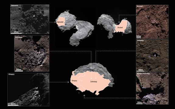 Images of six different patches on the surface of Comet 67P/Churyumov-Gerasimenko that show shimmering patches of what scientists think could be water ice. The middle inset shows the general region where each image was taken.