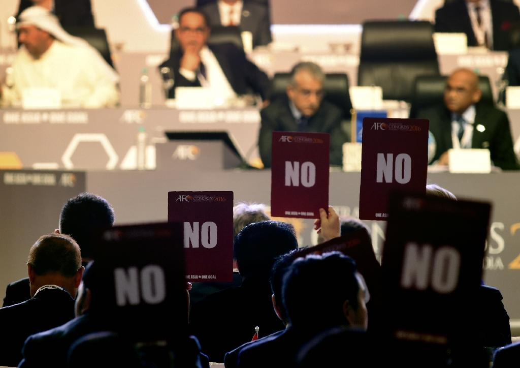 Asian delegates nearly all voted against the agenda after FIFA barred Qatar Football Association vice-president Saoud Al-Mohannadi from standing for one of the council seats (AFP Photo/Indranil Mukherjee)