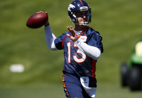 Trevor Siemian begins camp with a slight edge in the battle to start at quarterback. (AP)