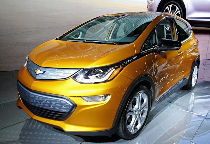 The Chevrolet Bolt EV is pictured at the 2016 Los Angeles Auto Show in Los Angeles, California, U.S November 16, 2016.  REUTERS/Lucy Nicholson