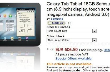 Samsung Galaxy Tab 8.9 priced at €606 by Amazon.de, joined by 10.1 model in a pre-order dance