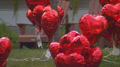 Woman battling cancer finds 101 heart balloons left in her yard