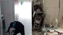Shocking moment man plants bombs in ATMs