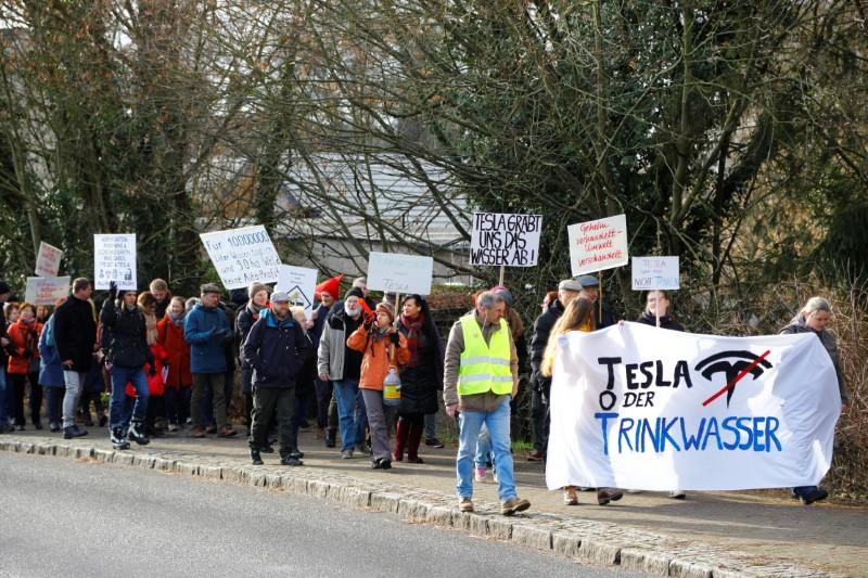 The Germans protest Tesla gigafactory