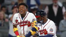 Braves star Ronald Acuna leaves game vs. Phillies early after hit by pitch in hand