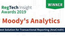 Moody's Analytics Wins Best Vendor Solution for Transactional Reporting (AnaCredit) at RegTech Insight Awards