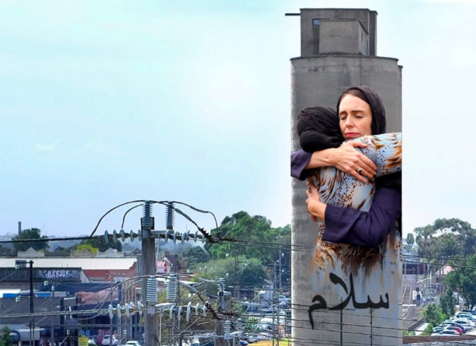 Petition to stop mural of Jacinda Ardern hugging Muslim woman