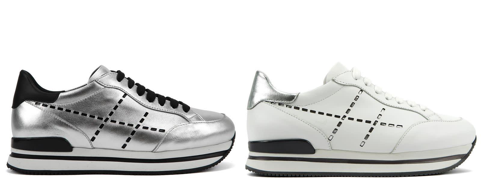 (左圖)HOGAN H222銀色鏡面皮革休閒鞋,NTD 18,300。(右圖)HOGAN H222鏡面皮革拼接休閒鞋,NTD 18,300。