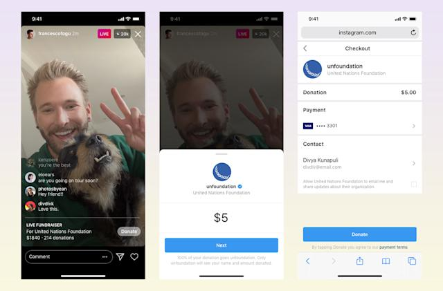 Instagram launches live fundraisers for nonprofits