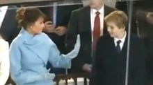 Melania and Barron Trump's CRINGY, Awkward, SUPER Embarrassing High Five Fail During Inauguration