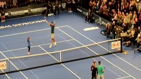 Little Girl Steals Show During Tennis With Pros