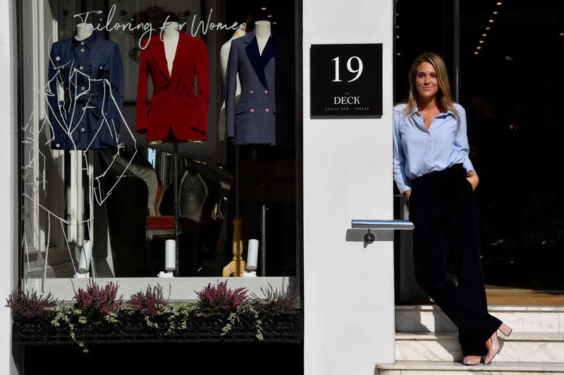 Knatchbull, Founder of The Deck, stands outside of her new premises on Savile Row, the first shopfront tailors exclusively for women to open on the world famous street, renowned for its bespoke clothes making, in London