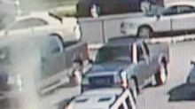 Ghostly image appears to damage police vehicle
