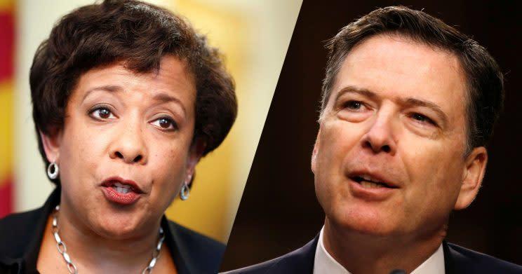 Former U.S. Attorney General Loretta Lynch and former FBI Director James Comey