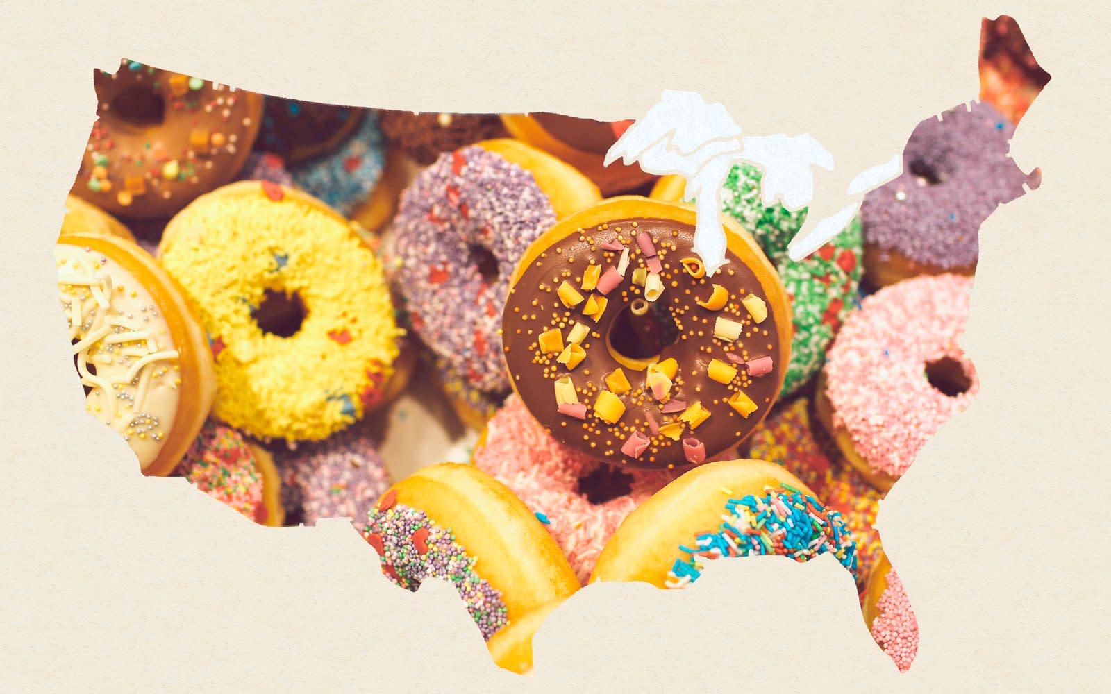 Открытка с пончиками на день рождения