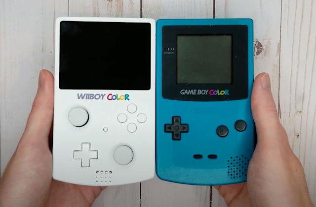 Someone squeezed a Nintendo Wii into a Game Boy Color-like case