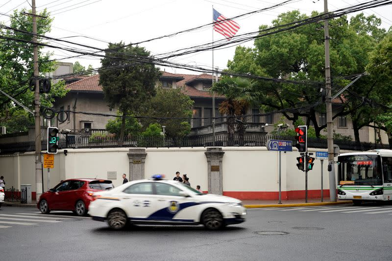 FILE PHOTO: The U.S. national flag is seen at the U.S. Consulate General