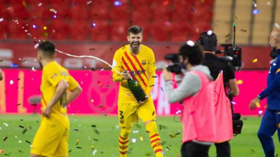 Foot - ESP - Coupe - Gerard Piqué (Barça) savoure la Coupe du Roi dans une année «compliquée»