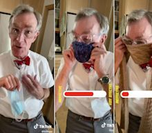 Bill Nye posted a TikTok showing how a face mask — and not a knit scarf — can slow the spread of the coronavirus