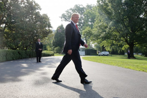 President Trump leaves the White House on Saturday morning