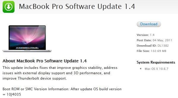 Apple updates 2011 MacBook Pro firmware to v1.4, fixes stability, Thunderbolt, and Turbo Boost issues
