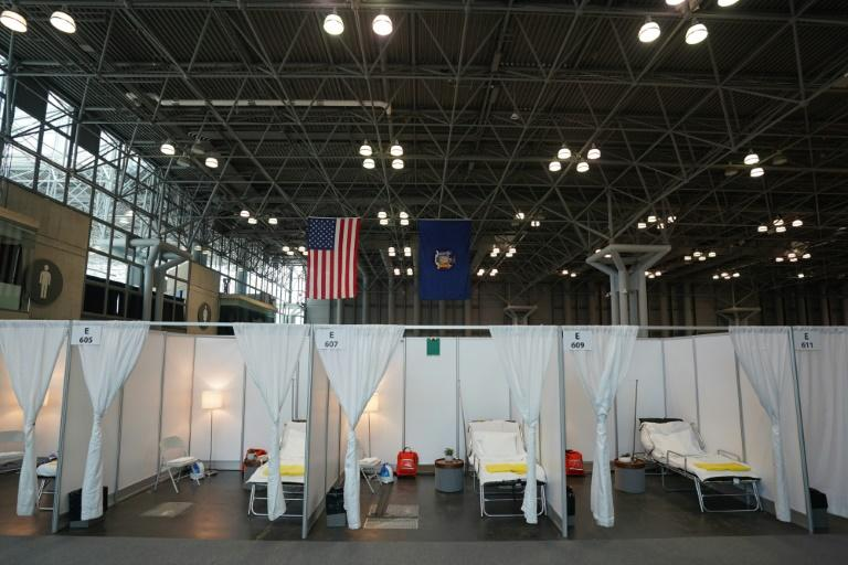 A temporary hospital is set up at Manhattan's Javits Center, as medical facilities in New York struggle to handle the influx of coronavirus patients (AFP Photo/Bryan R. Smith)