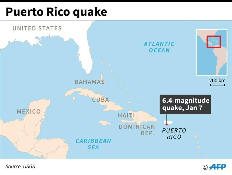 Updated map locating the epicentre of a 6.4-magnitude quake that hit Puerto Rico Tuesday. (AFP Photo/)