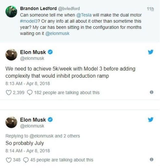 Tesla執行長Elon Musk在Twitter貼文中透露,Tesla Model 3雙馬達與高性能版預計在7月開始生產