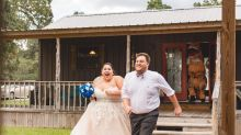 Couple chased by blow-up T. rex for their wedding entrance