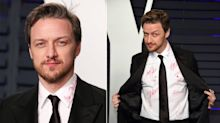 James McAvoy's Shirt Is Covered in Oscar Autographs for Charity